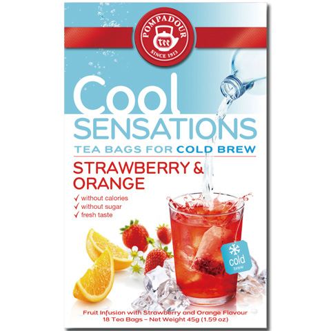 ほんのり甘酸っぱい水出しハーブティー ポンパドール/クールセンセーション ストロベリーオレンジ(18ティーバッグ) 品番14048