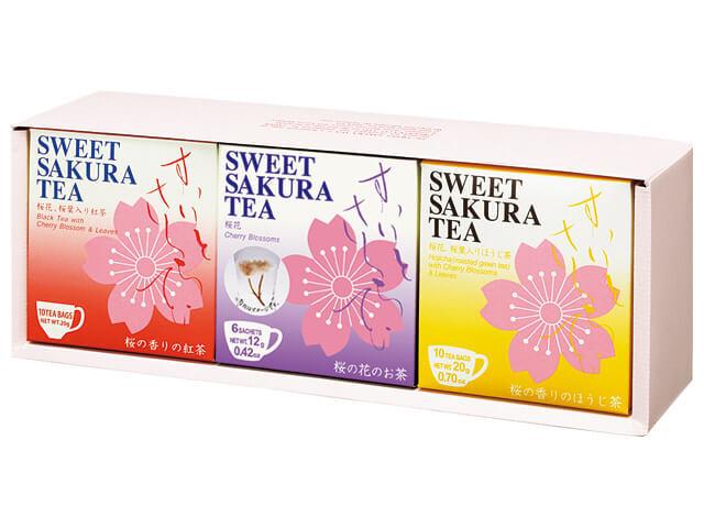 【ギフトセット】スイートサクラティー 3個セットC(紅茶、桜花、ほうじ茶 各1個) 品番14099