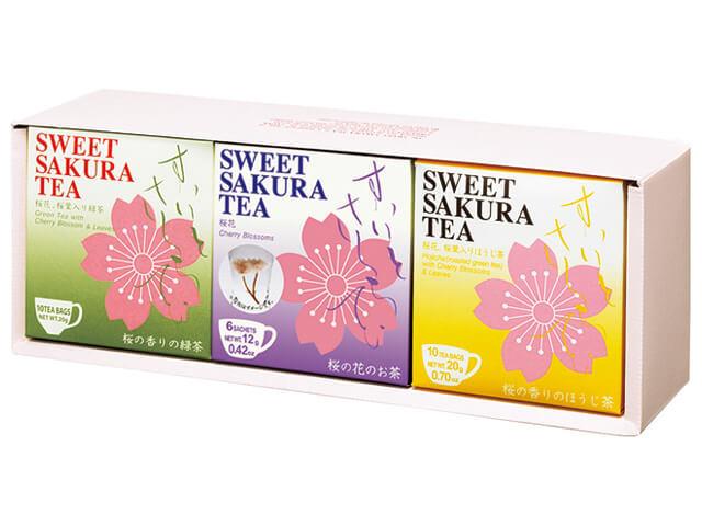 【ギフトセット】スイートサクラティー 3個セットD(緑茶、桜花、ほうじ茶 各1個) 品番14100