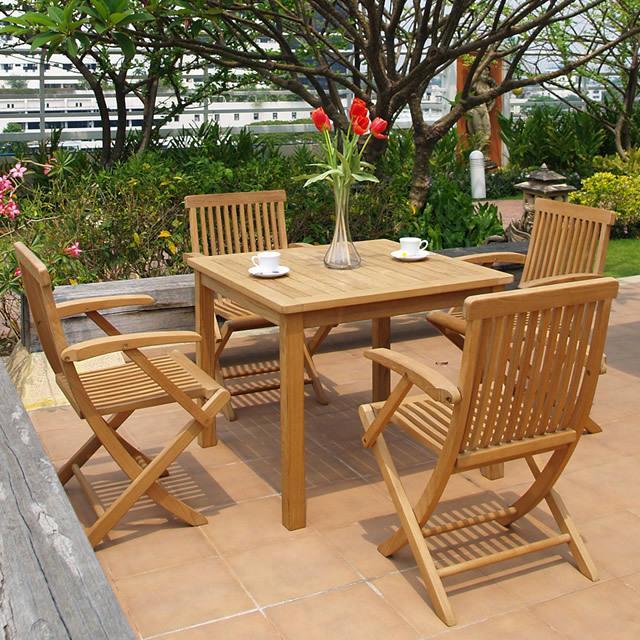 ぬくもり豊かな天然ミャンマーチークのテーブル&チェアーセット(BDT-ST1)