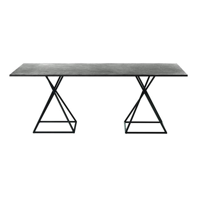 ブラックリール レクタングルダイニングテーブル(ストーン天板) (BLACK-LILLE-GBB8102PDC)