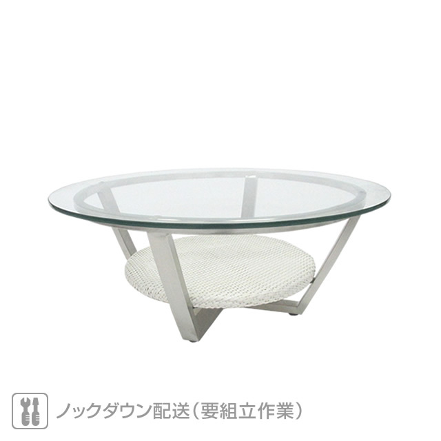 ミュシャ 強化ガラス天板 80cmラウンドコーヒーテーブル (MUCHA-SAL-0886-CTR-80WS)