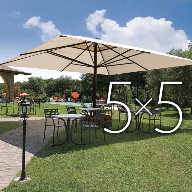 圧倒的な大空間!5mx5mの大型イタリア製デザインガーデンパラソル (SCL-CP5050)