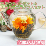 内祝いや結婚祝いギフトとして 工芸茶&王妃のティーポットセット 二層グラス2客付き
