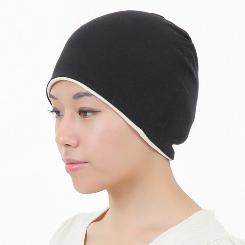 医療用帽子 柔らか真っ黒帽子 1071