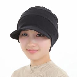医療用帽子 真っ黒つば付きだんだん帽子 2051