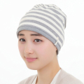 医療用帽子 杢グレー太ボーダー帽子 2710
