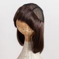 医療用帽子 ウィッグ 帽子ウィッグ 前髪有り 置き撮り写真 ミディアムヘア w01 マロンブラウン