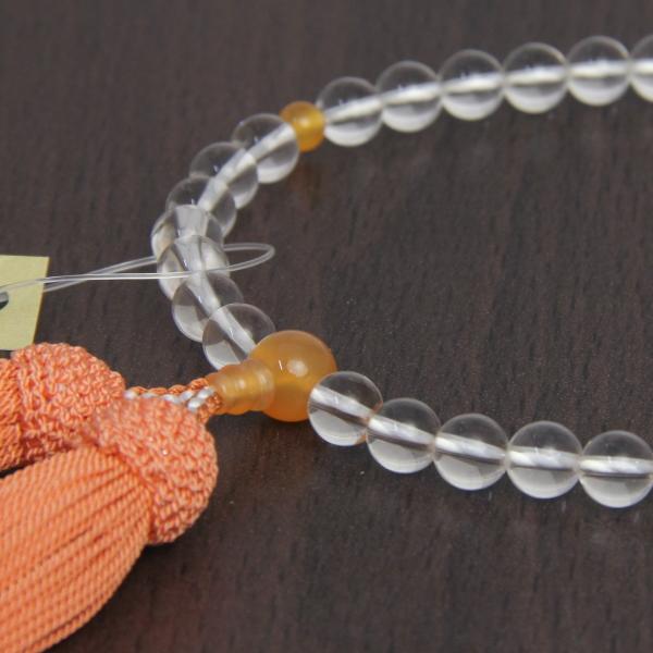 オレンジ瑪瑙入り本水晶念珠