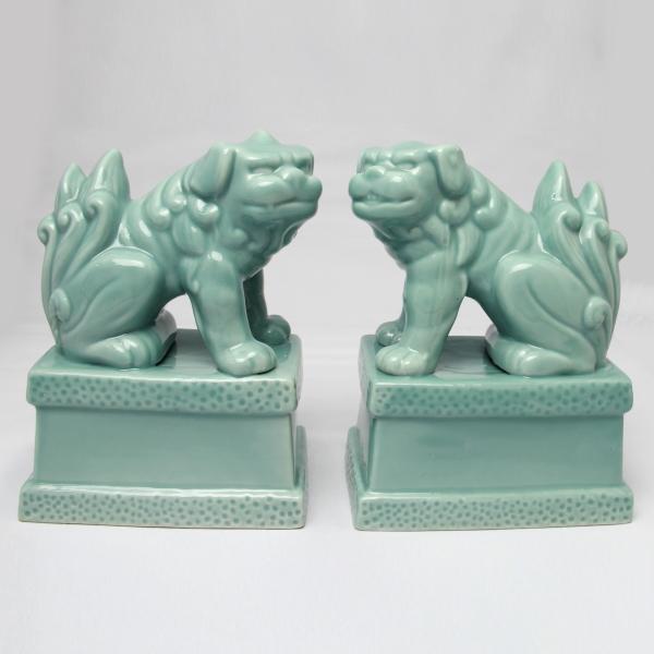 【現品限り!】青磁駒犬(狛犬) 7寸 対入