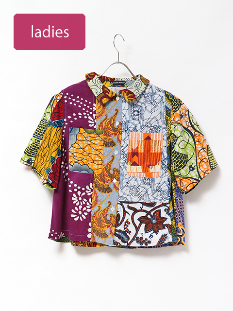 アフリカンバティックホルンポケットシャツ