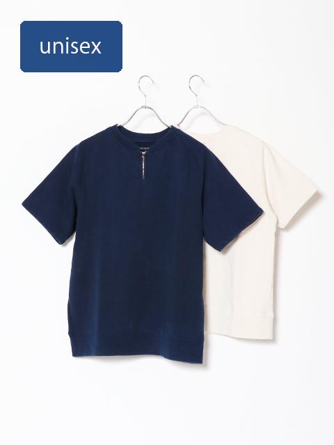 BD裏毛ジッププルオーバー半袖Tシャツ