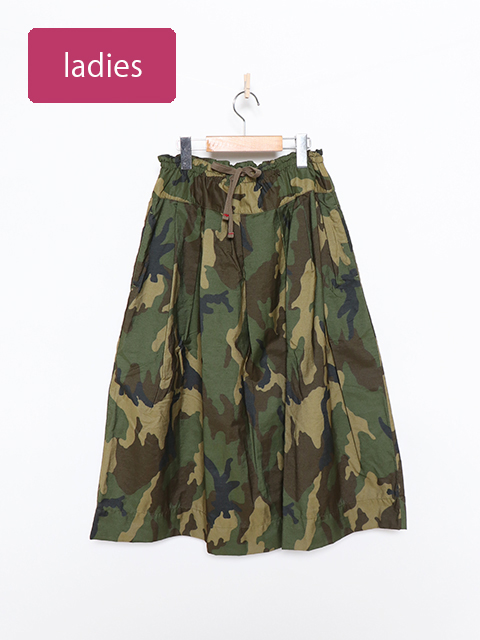 コットンナイロンカモポケットフィセルスカート
