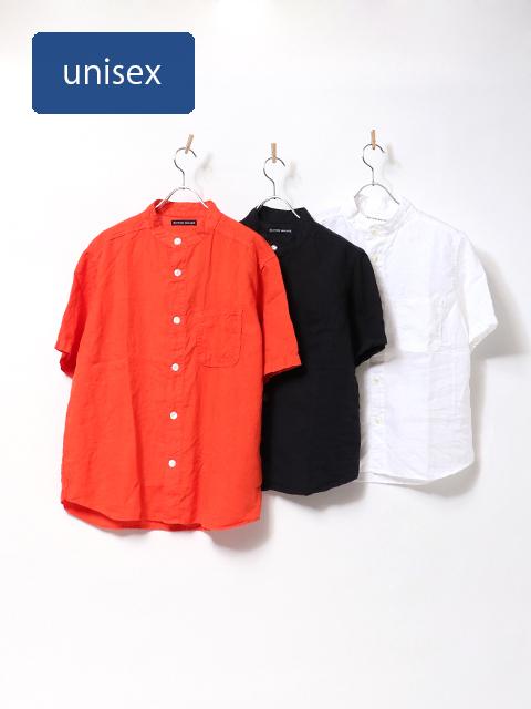 ヨーロッパリネンバンドカラーオープンシャツ