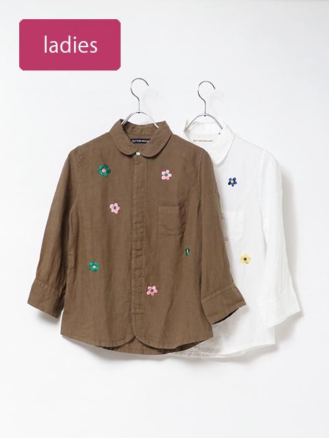 フラワー刺繍リネンエスプリ七分袖シャツ