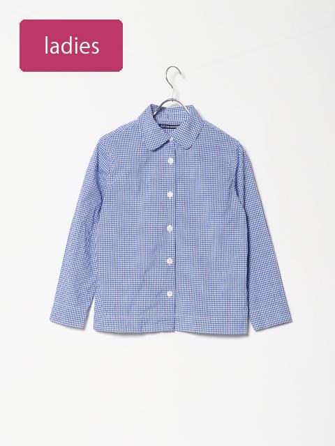 ギンガムチェック丸襟ボックス長袖シャツ