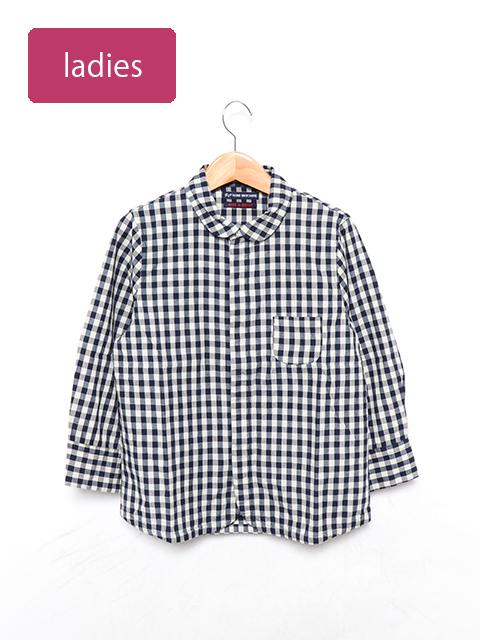インディゴギンガムチェックエスプリ七分袖シャツ