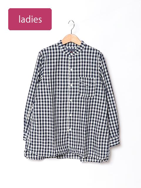 インディゴギンガムチェックスタンドカラーロングシャツ