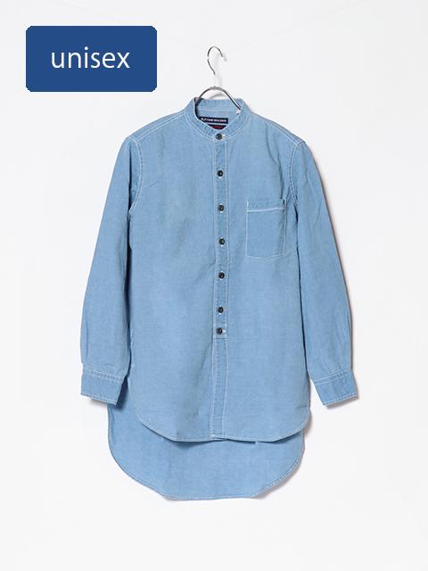 インディゴシャンブレーINDIAスタンドシャツ
