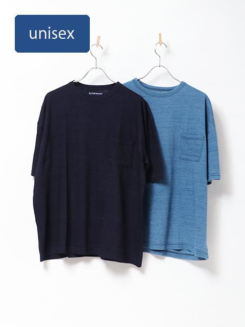 インディゴスラブ天竺ベニスビーチポケット半袖Tシャツ