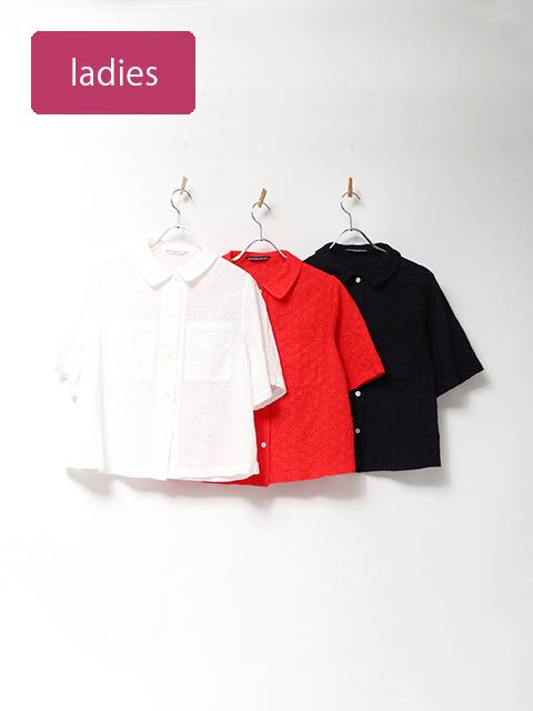 60ローンレースホルンポケットシャツ