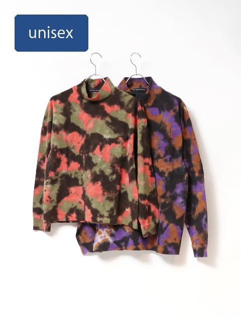 ミックスカモ注染モックネックベニスビーチリブTシャツ