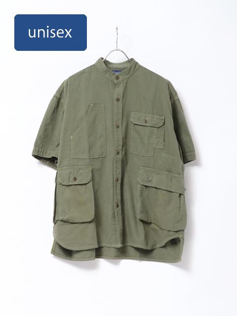 ナチュラル綾デニムスタンドカラーカーゴシャツ