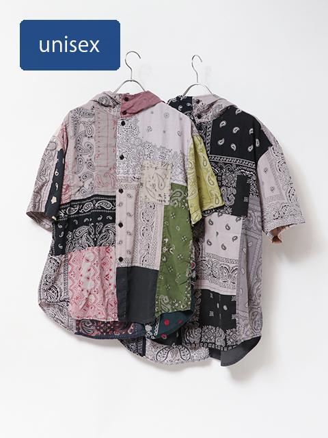 リメイクミックスバンダナフーディー半袖シャツ