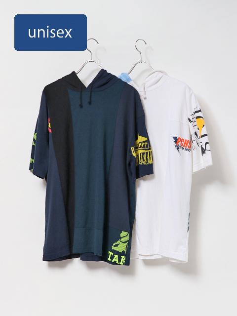 リメイクTシャツフード半袖T