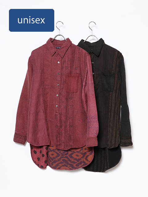 シルクカンタオープンロングシャツ