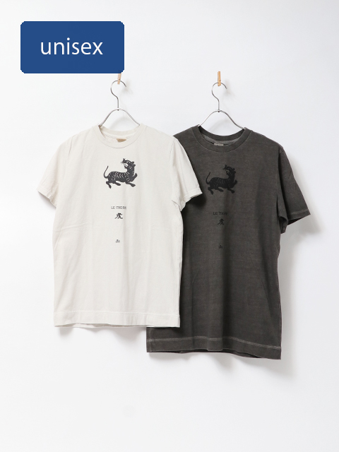 虎版画半袖Tシャツ
