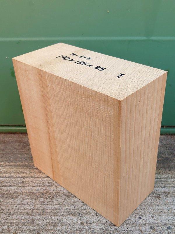 H-515 桧 柾盤 能面 檜ヒノキひのき 米桧 彫刻用 190×185×85 天然乾燥材