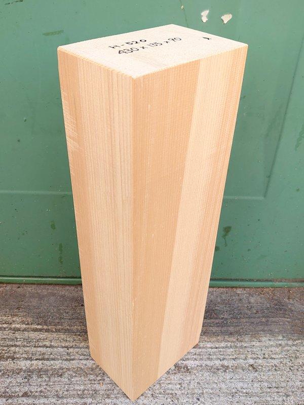 H-520 桧 柾盤 能面 檜ヒノキひのき 米桧 彫刻用 430×135×90 天然乾燥材