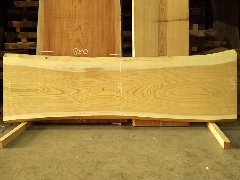 K-547 欅ケヤキ 国産 天然耳付き板 2250×650 天然乾燥材