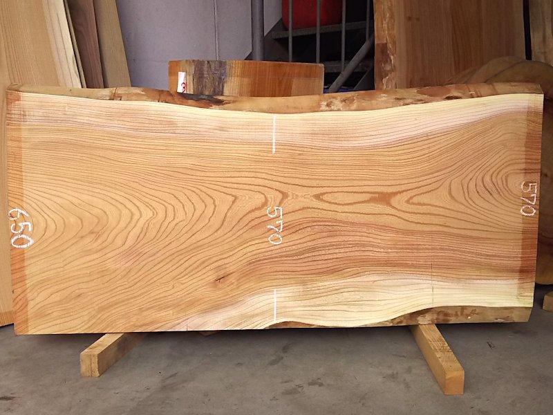 K-579 欅ケヤキ 国産 天然耳付き板 1400×650 天然乾燥材