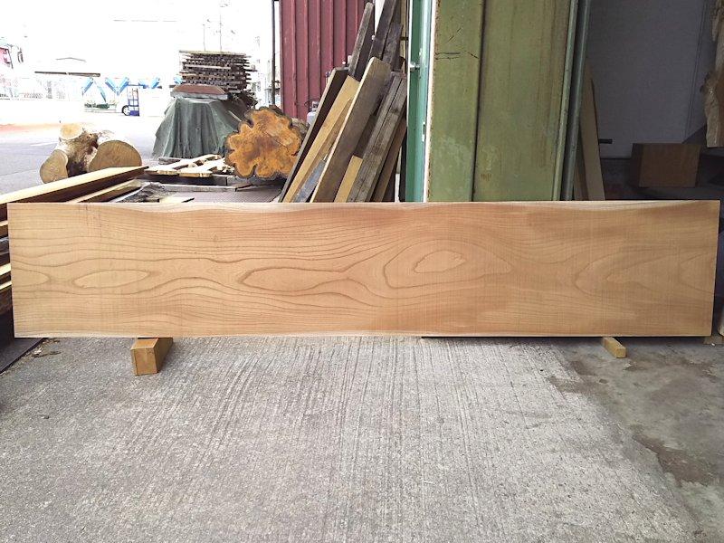 K-586 欅ケヤキ 国産 ほぼ赤身耳なし板 2300×445 天然乾燥材