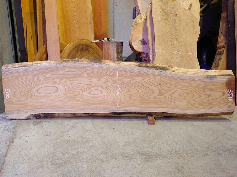 K-608 欅ケヤキ 国産 天然耳付き板 2300×550 天然乾燥材