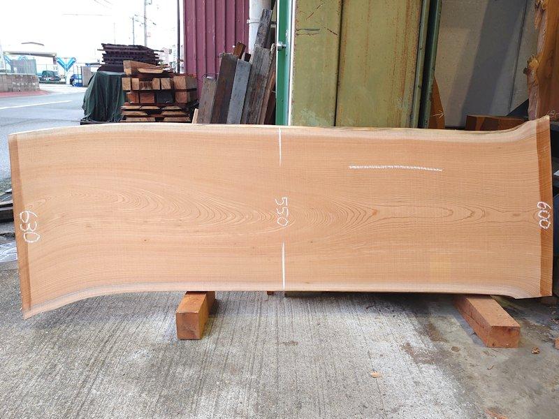 K-609 欅ケヤキ 国産 天然耳付き板 1800×650 天然乾燥材