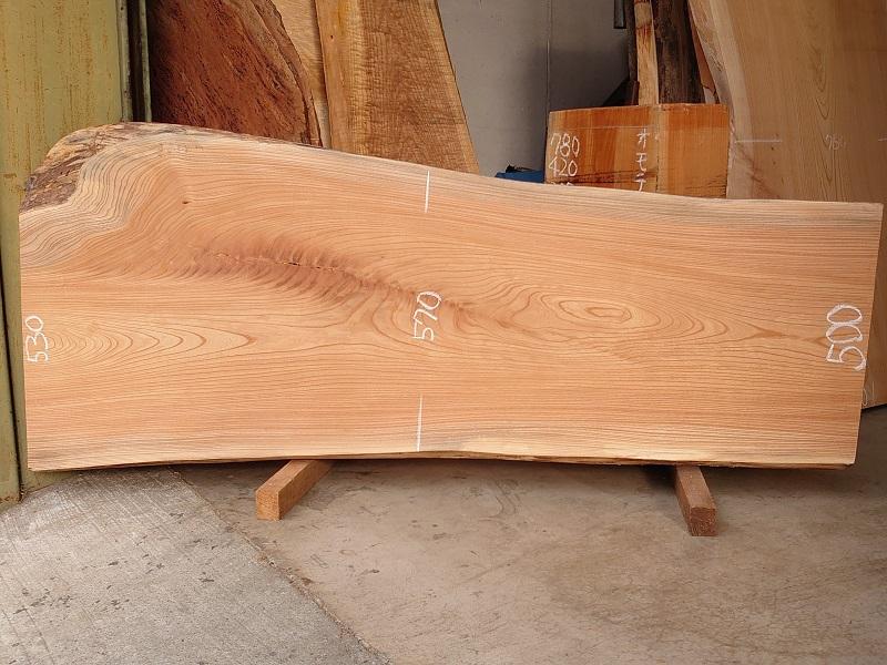 K-638 欅ケヤキ 国産 天然耳付き板 1650×600 表面加工済 天然乾燥材