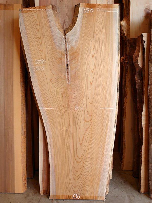 K-666 欅ケヤキ 国産 天然耳付き板 2050×900 表面電気カンナ済 天然乾燥材