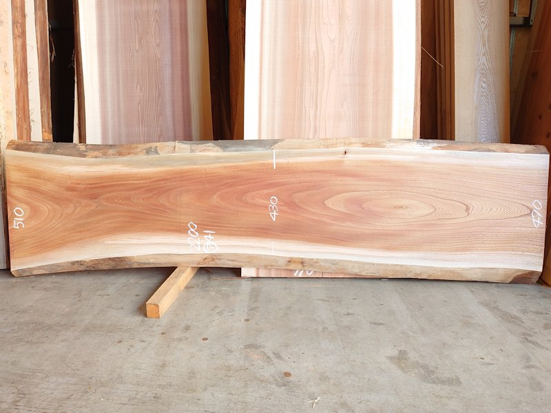 K-697 欅ケヤキ 国産 天然耳付き板 2200×550 表面電気カンナ済 天然乾燥材