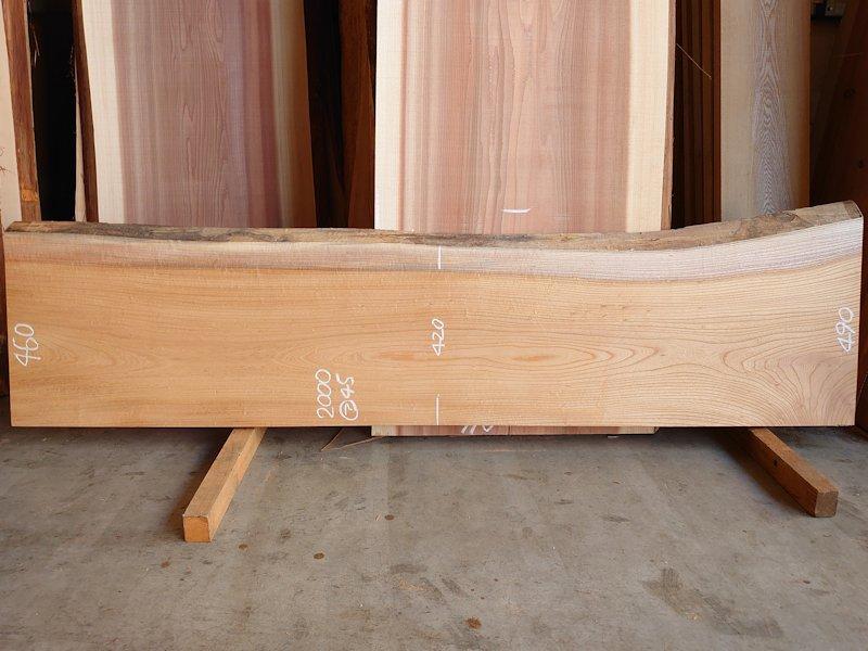 K-698 欅ケヤキ 国産 天然耳付き板 2000×500 表面電気カンナ済 天然乾燥材