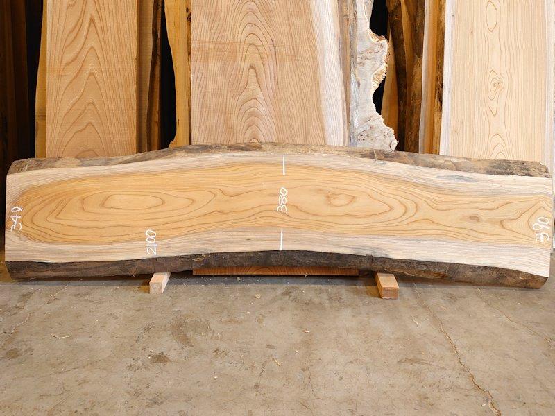 K-702 欅ケヤキ 国産 天然耳付き板 2100×500 表面電気カンナ済 天然乾燥材