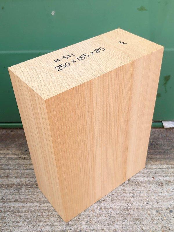 H-511 桧 柾盤 能面 檜ヒノキひのき 米桧 彫刻用 250×185×85 天然乾燥材