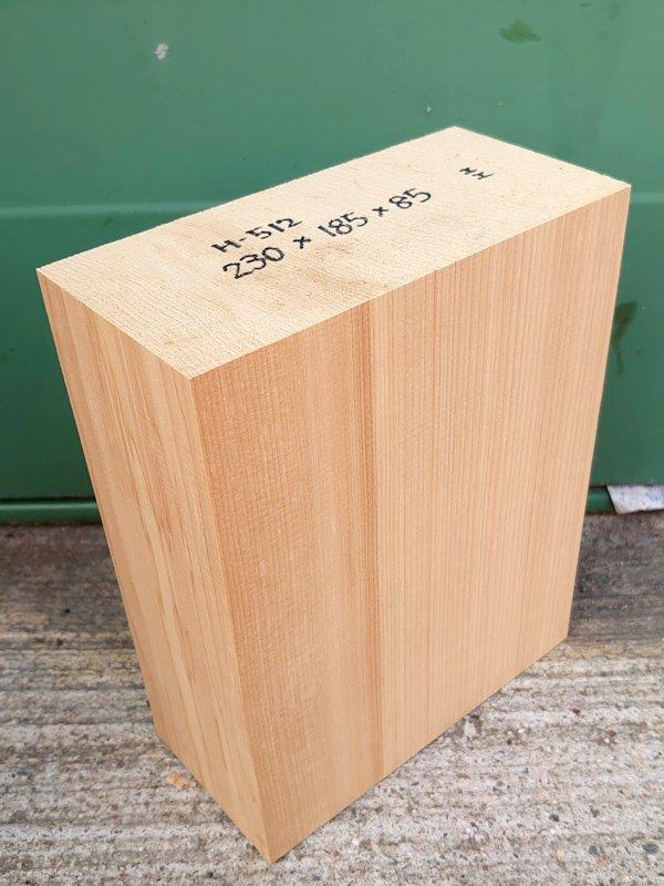 H-512 桧 柾盤 能面 檜ヒノキひのき 米桧 彫刻用 230×185×85 天然乾燥材