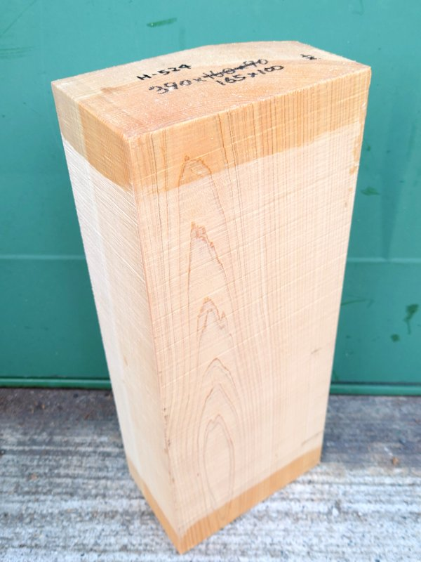 H-524 桧 檜ヒノキひのき能面 彫刻用 390×165×100 天然乾燥材