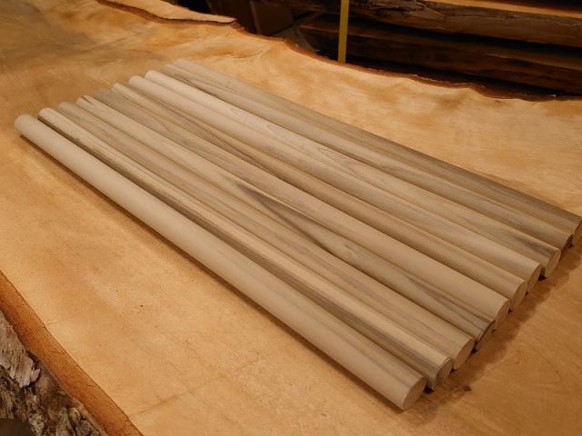 丸棒 朴ホウノキほうのき 縞あり450×20丸10本セット 乾燥材 HO-03