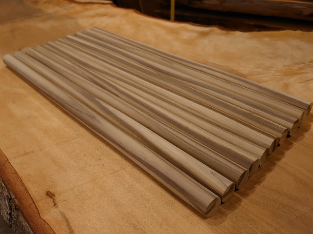 丸棒 朴ホウノキほうのき 縞あり450×20丸10本セット 乾燥材 HO-04