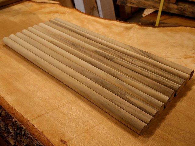 丸棒 朴ホウノキほうのき 縞あり450×20丸10本セット 乾燥材 HO-09