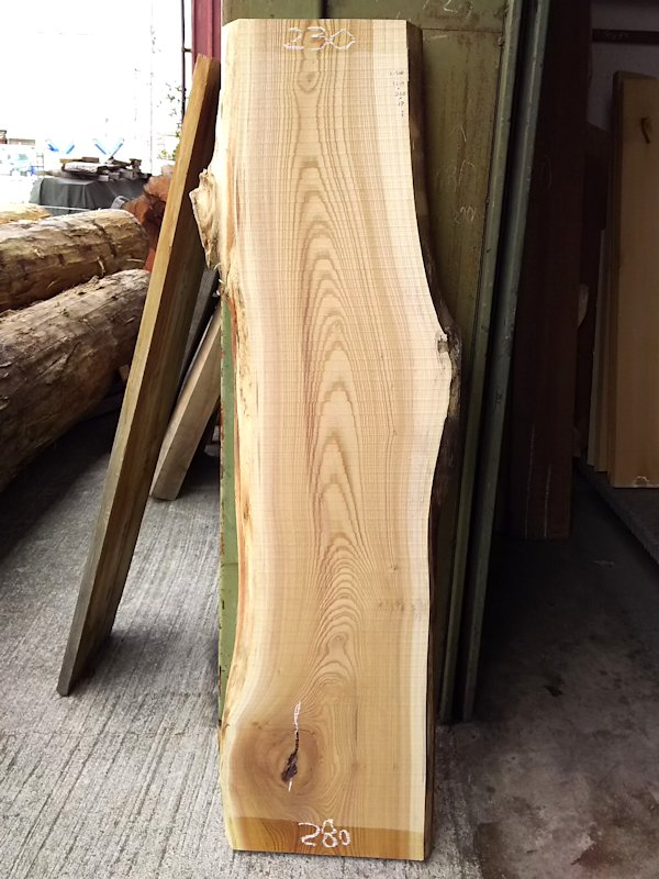 K-508 欅ケヤキ 国産 天然耳付き板 1210×300 天然乾燥材